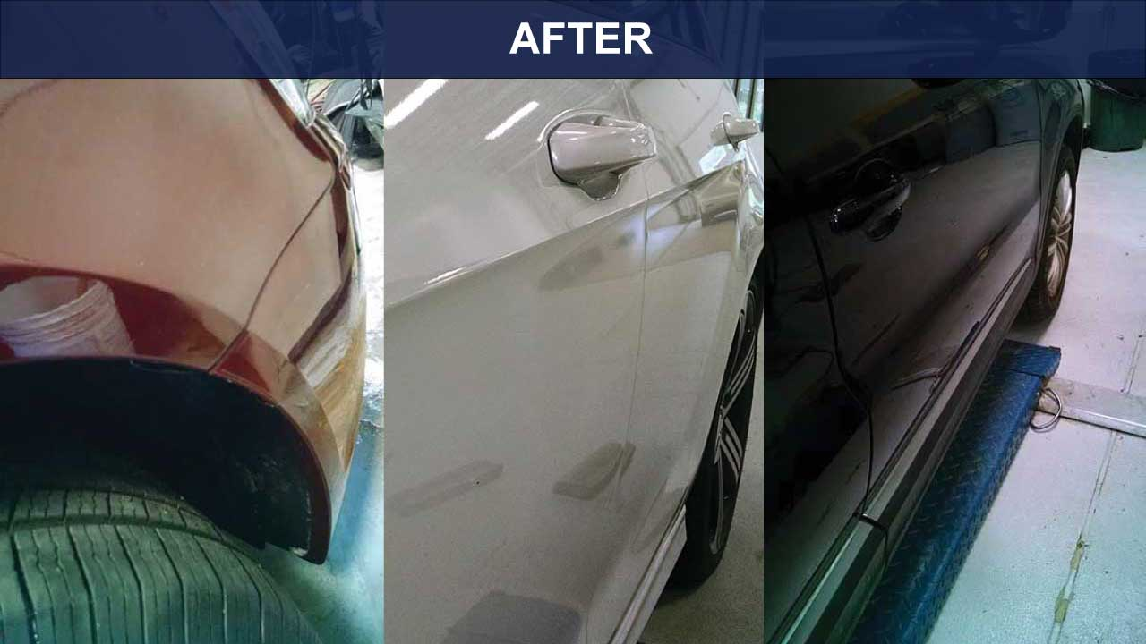 AFTER - Car Dents by Front Wheel and Car Doors Removed