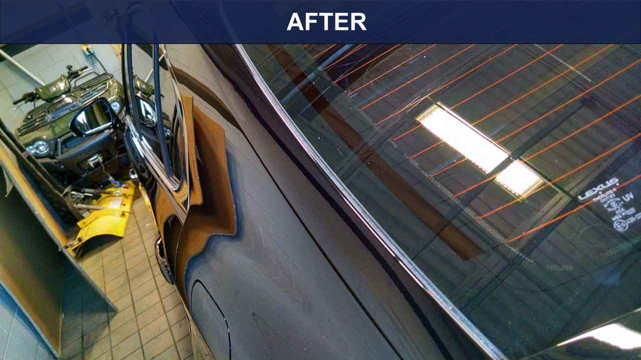 AFTER-Lexus sail panel repaired with glue pulling method