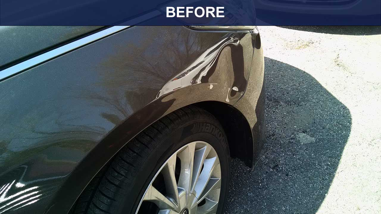 BEFORE- Front fender dent