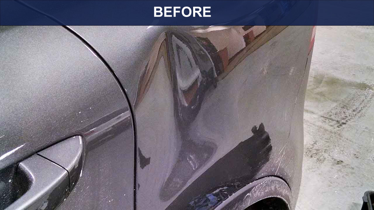 BEFORE - Dent on 1/4 panel