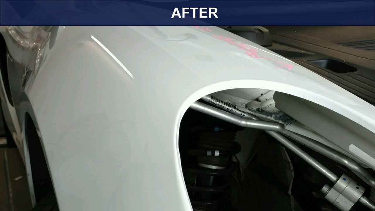 Porche-front-fender-after-dent-removal