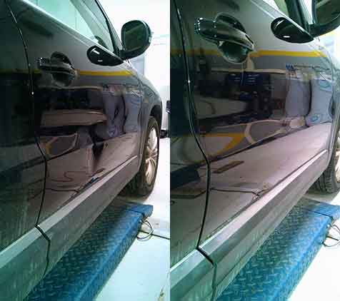 Side-door-dent-before-and-after-paintless-dent-removal