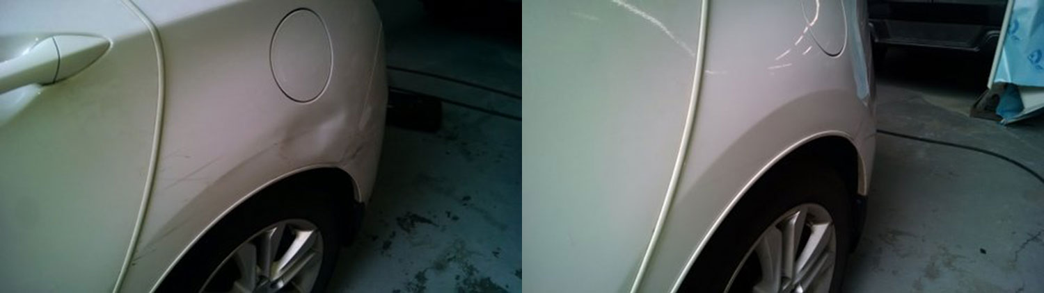 White 1 quarter dent before and after PDR